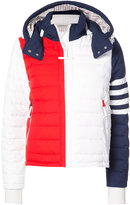 Thom Browne Downfill Ski Jacket With 4-Bar Stripe & Removable Hood In Red, White And Blue Matte Nylon Poplin
