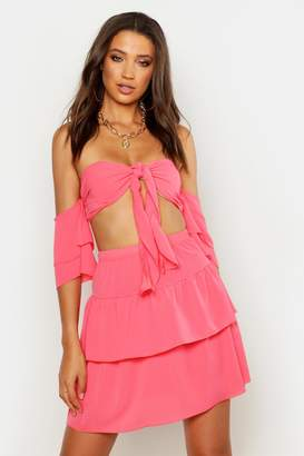 boohoo Tall Tie Front Top & Skirt Co-Ord