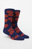 Richer Poorer Blossom Navy & Orange Crew Socks