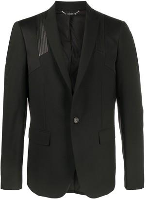 Les Hommes Leather-Panel Blazer