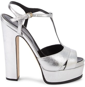 Sergio Rossi T-Strap Leather Sandals