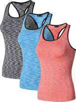 jeansian Women's 3 Packs Quick Dry Compression Tank Top Vest SMF003 PackD M