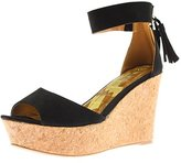 Qupid Womens Ardor Faux Suede Ankle Strap Wedge Sandals