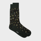 Paul Smith Men's Dark Green 'Leopard Camo' Socks