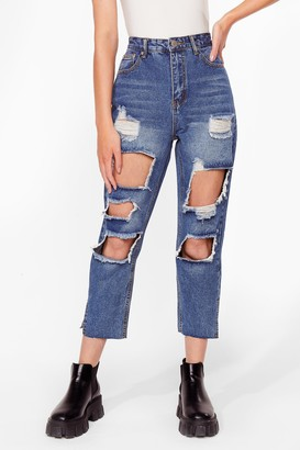 Nasty Gal Womens Keep a Cool Shred Distressed Denim Jeans - Blue - 6