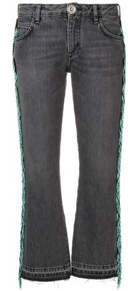 Alanui Bead Fringed Cropped Jeans