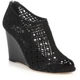 Aquatalia Shelly Perforated Suede Wedge Sandals