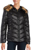 GUESS Long Sleeve Faux Fur Puffer Jacket
