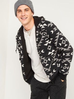 Old Navy Cozy Sherpa-Lined Patterned Zip Hoodie for Men
