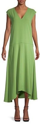 Tibi Cap-Sleeve Midi Dress