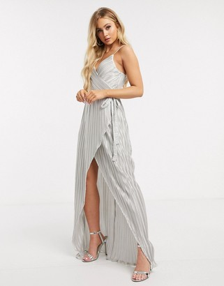 Girl In Mind pleated wrap maxi dress in silver