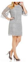 Jessica Howard Plus Cold-Shoulder Lace Shift Dress