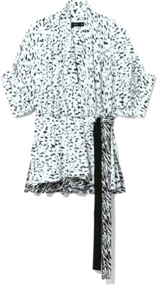 Proenza Schouler Short Sleeve Wrap Top in Black/Sky Blue Inky Leopard