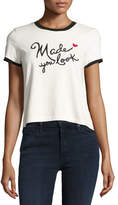 Alice + Olivia Dessie Made You Look Embroidered Cotton Ringer Tee, Multi