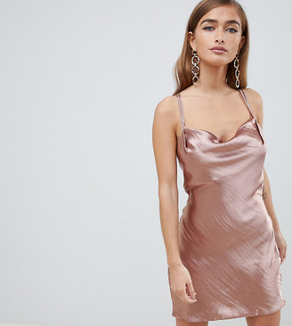Asos DESIGN Petite bias cut cowl neck mini dress in high shine satin