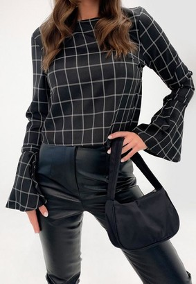 Missguided Black Check Tie Cuff Flared Sleeve Top