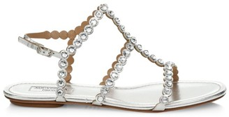 Aquazzura Tequila Crystal-Embellished Metallic Leather Flat Sandals