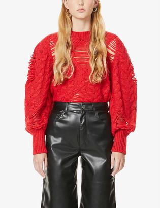 Stella McCartney Puff-sleeve cable-knit alpaca-blend jumper