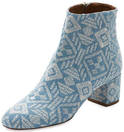 Aquazzura Brooklyn Embroidered Denim Block-Heel Bootie, Light Blue