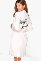 boohoo Erin Brides Squad Slogan Lace Detail Bridal Robe blush