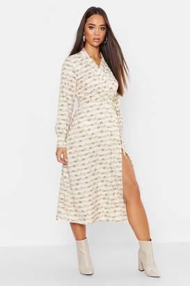 boohoo Woven Wrap Chain Colour Block Shirt Maxi Dress