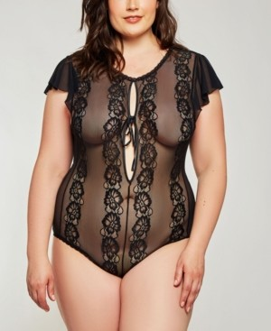 iCollection Plus Size Flutter Sleeve Day and Night Lace Bodysuit, Online Only