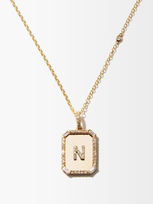 Shay Nameplate Diamond & 18kt Gold Necklace (n-z) - Yellow Gold