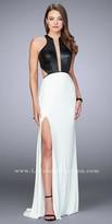 La Femme Vegan Leather Open Back High Slit Jersey Prom Dress