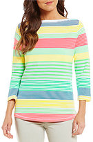 Westbound Petite 3/4 Sleeve Boat Neck Top