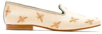Blue Bird Shoes Bees straw loafers