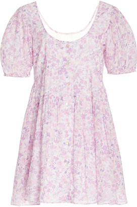 LoveShackFancy Runa Floral-Printed Cotton Mini Dress