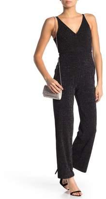Donna Morgan V-Neck Stretch Sequin Wide Leg Jumpsuit