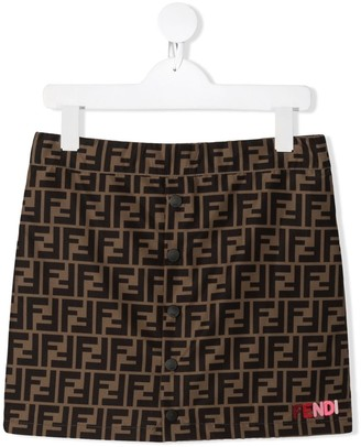Fendi Kids TEEN FF-logo stripe skirt