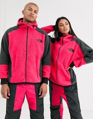 The North Face 94 Rage fleece Hoodie in rose red/gray