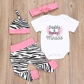 WensLTD4pcs Newborn Infant Baby Girls Romper Tops+Pants+Hat+Headband Kids Clothes Sets (6M, pink)