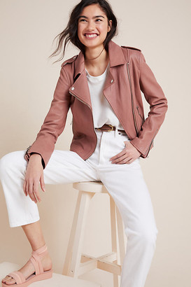 LTH JKT KAS Leather Moto Jacket By in Pink Size XS