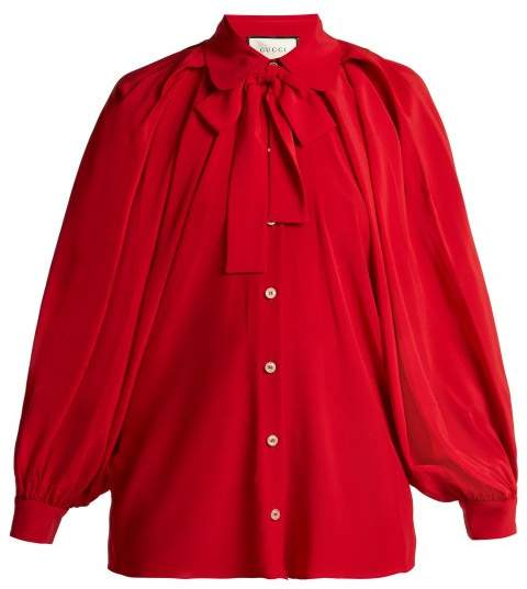 Gucci Puff Sleeve Crepe De Chine Blouse - Womens - Red