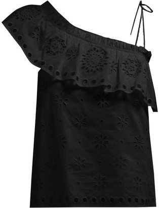 RED Valentino Ruffled One-shoulder Broderie-anglaise Top - Womens - Black