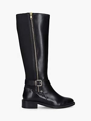 Carvela Pony Knee High Leather Boots, Black