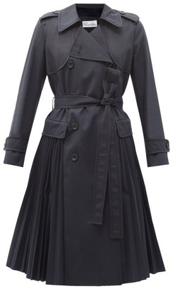 RED Valentino Pleated Cotton-blend Gabardine Trench Coat - Navy