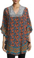 Tolani Belle Floral-Print Flutter Tunic, Floral/Multi, Plus Size