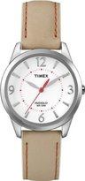 Timex Women's T2N861 Weekender Beige with Coral Stitching Leather Strap Watch