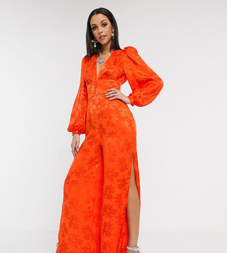 Asos Tall DESIGN Tall satin jumpsuit with blouson sleeve in orange floral jacquard