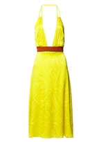 Matthew Williamson Yellow Silk Jacquard Halter Dress