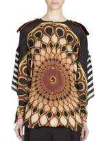 Givenchy Open-Back Optical Printed Silk Top