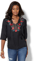 New York & Co. Floral-Embroidered Peasant Blouse