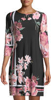 Neiman Marcus 3/4-Sleeve Floral-Print Shift Dress