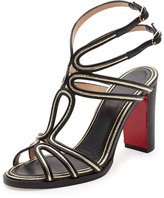 Christian Louboutin Zenobissima Block-Heel Red Sole Sandal, Platine