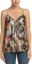 Haute Hippie Pin Tuck Silk-Blend Floral Cami