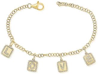 Sabrina Designs 14K 0.40 Ct. Tw. Diamond Love Charm Adjustable Bracelet